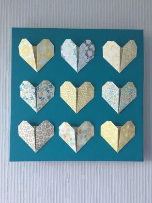 tableau origami coeur